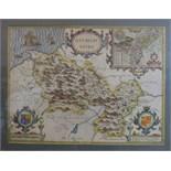 John Speed (1552-1629) 'Denbighshire', a hand-coloured pictorial map with detailed plan of Denbigh
