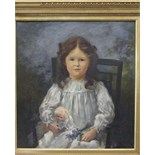 **Frank Watson Wood (1862-1953) THREE QUARTER LENGTH PORTRAIT OF A YOUNG GIRL WITH RIBBONS IN HER