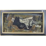 **After George Braque (1882-1963) STILL LIFE OF GUITAR AND MUSIC Oil on board, 43 x 90cm.