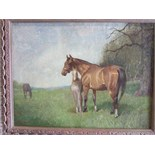 **Charles Walter Simpson RI (1885-1971) MARE AND FOAL IN A PADDOCK Signed oil on canvas, 29 x 39cm.
