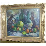 **Arthur Ewan Forbes Dalrymple (1912-1970) STILL LIFE WINE BOTTLES AND APPLES Signed oil on board,