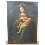 19th century Italian School, after Pietro Perugino MADONNA AND INFANT CHRIST, WEARING RED DRESS