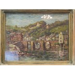 Follower of Claude Monet (20th century) DINAN Oil on panel, bears signature, dated '96', inscribed