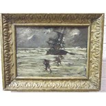 Style of Joseph John Richard Bagshaw RBA (1870-1909) FISHERMEN ON A BEACH WORKING A WRECK Oil on