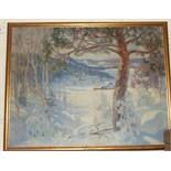 **H Birle (Scandinavian) SNOWBOUND VILLAGE Signed oil on canvas, dated 1919, 99 x 130cm.