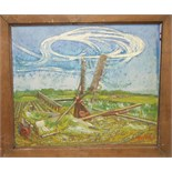 """**Richard Murry (1902-1984) DOG FIGHT Signed oil on canvas, dated '41, inscribed on label verso """""""