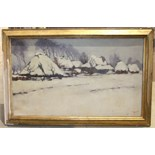 **Verhorst? WINTER LANDSCAPE Signed oil on canvas, indistinctly titled verso, dated 19, 65 x 110cm.