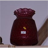 A dimpled ruby glass oil lamp shade a