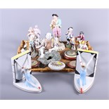 Four Volkstadt porcelain figures, a pair of Continental Art Deco style book ends and various other