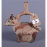 """A Peruvian terracotta flask, in the shape of a man on a horse, 9 1/2"""" high"""