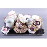 """Three Royal Crown Derby """"Japan"""" pattern cups and saucers and various other decorative cups and"""