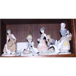 Five Lladro figures of girls feeding geese (two damaged) and a Lladro Collector's Society plaque