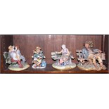 A collection of four Capodimonte figures, on benches