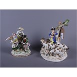 A 19th century Meissen porcelain figure group of a shepherd with dog and seven sheep and two other