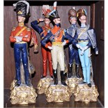 """A set of six Capodimonte figures of soldiers in 19th century uniforms, 12"""" high"""