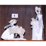 """A Lladro figure of an elegant Edwardian woman standing by a pillar, 13"""" high, and a similar figure"""