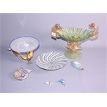 """A Venetian blue and white swirled glass plate, on gilt metal stand cast three birds, 8"""" dia, five"""