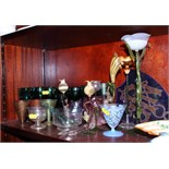 Nine 19th century green wine glasses and other coloured glass
