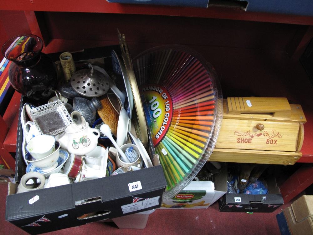 Lot 547 - An Amethyst Glass Vase, mirror, ceramics, etc:- One Box plus shoe box, felt tip markers.