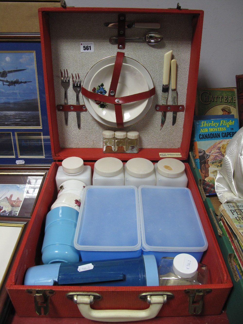 Lot 561 - WITHDRAWN - A 1960's Sirram Picnic Case, with contents, in red.