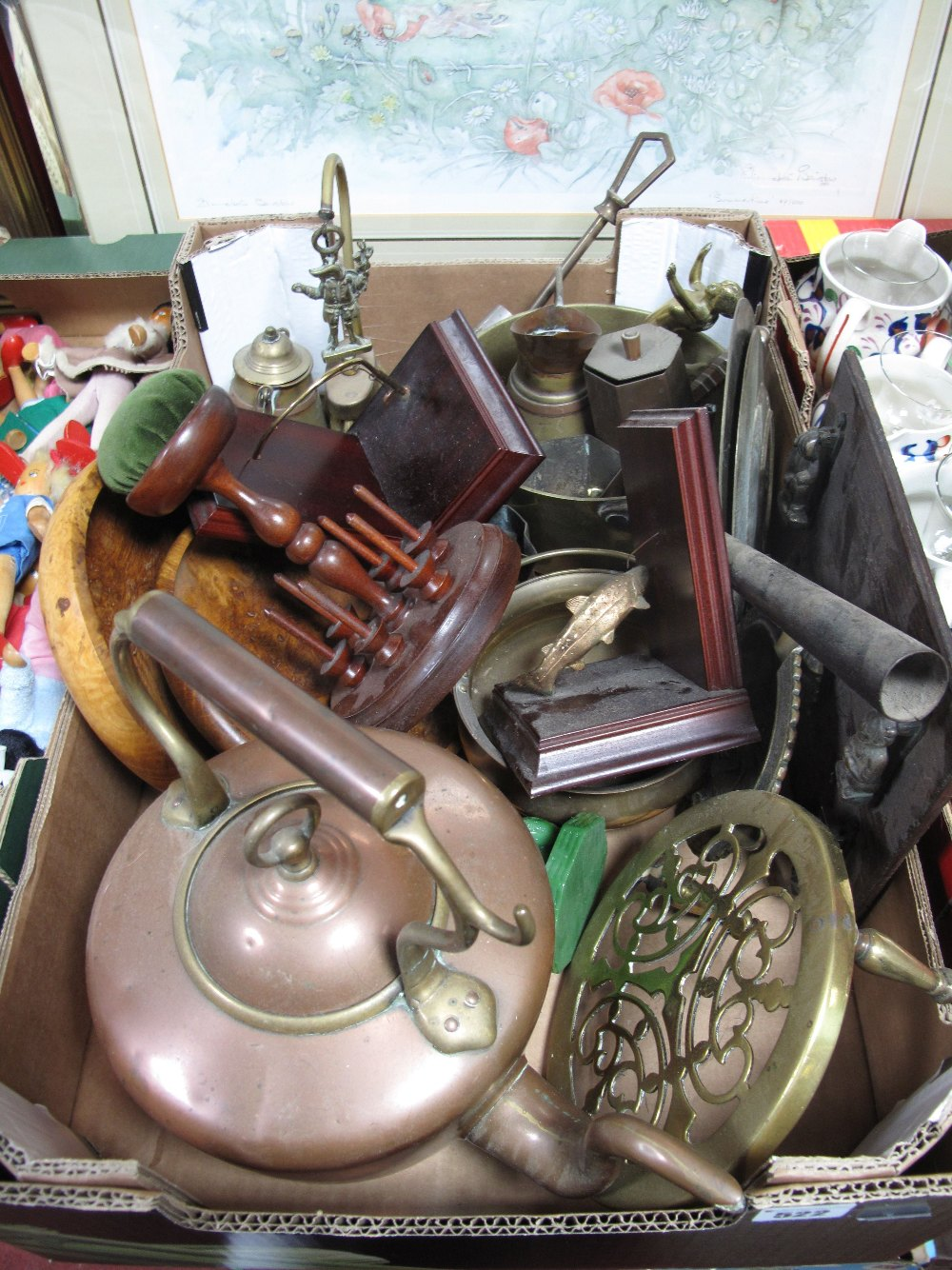 Lot 522 - Anglers Book Ends, jam pan, copper kettle, bobbin stand, etc:- One Box