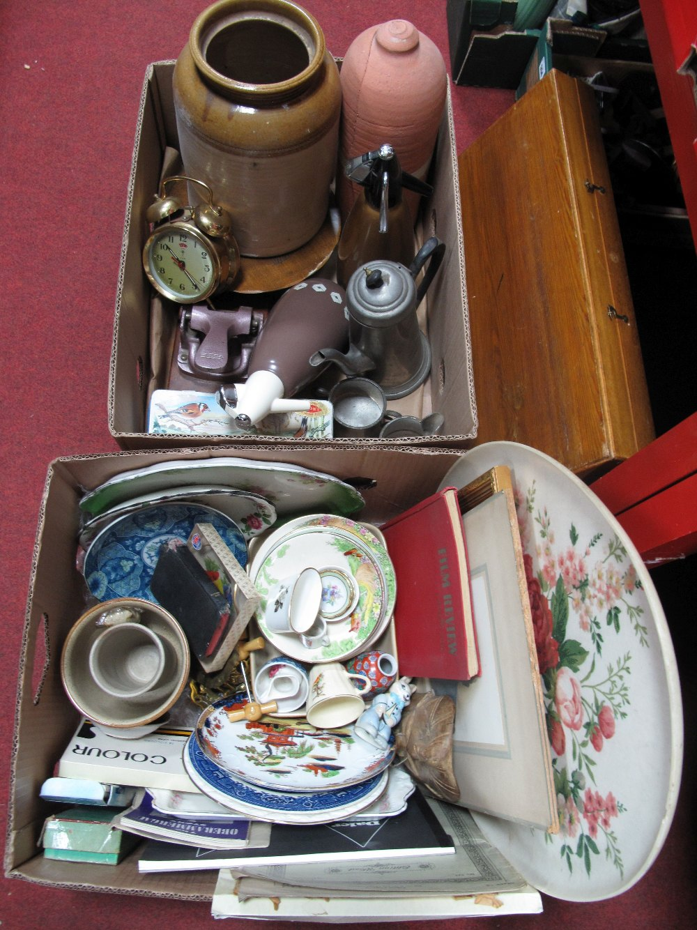 Lot 555 - Soda Syphons, glazed storage jar, coffee pot, animals, cabinet plate, painting accessories, etc:-