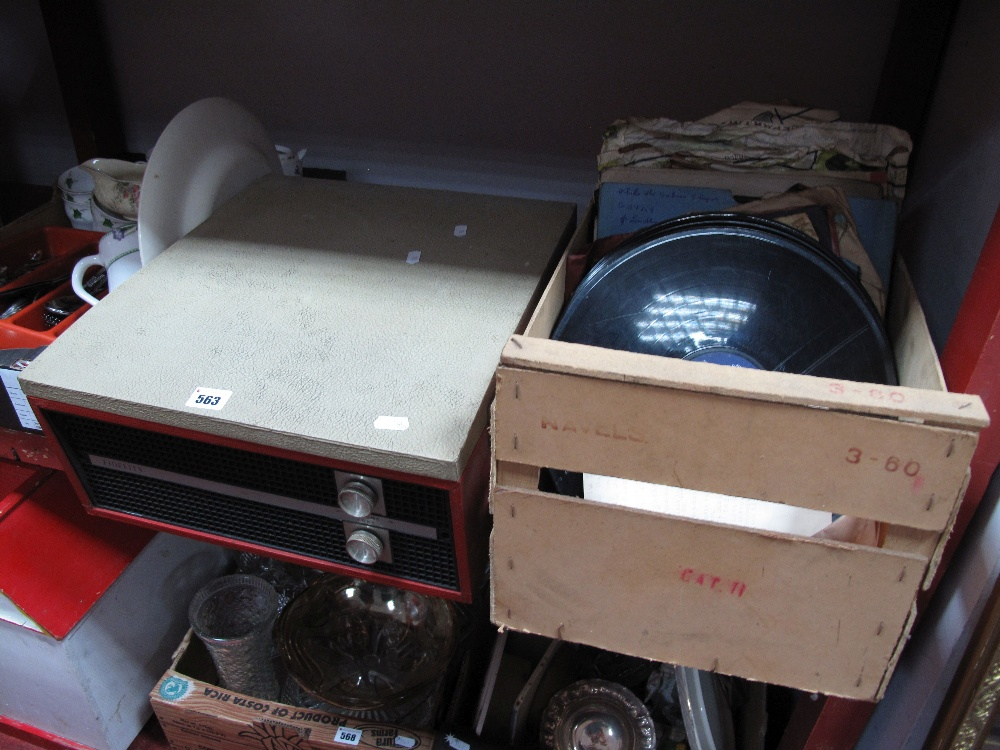 Lot 563 - Fidelity Record Player, (damages), quantity of records.