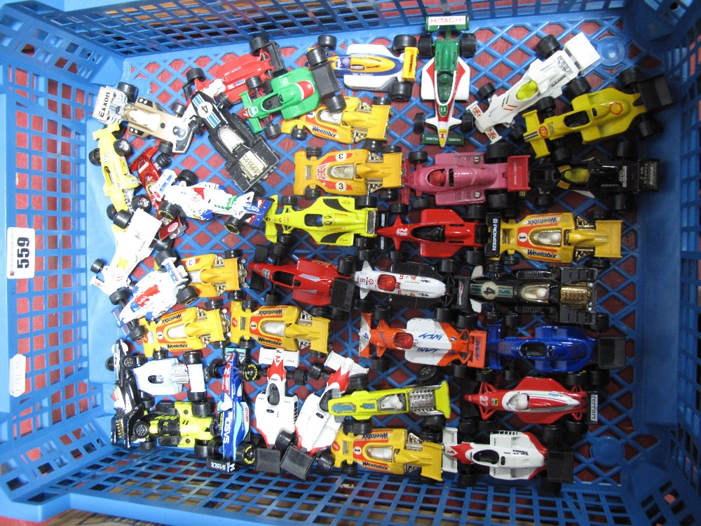 Lot 559 - A Collection of Approximately Thirty-Five Modern F1 Diecast Racing Cars, by Matchbox, Corgi Juniors,