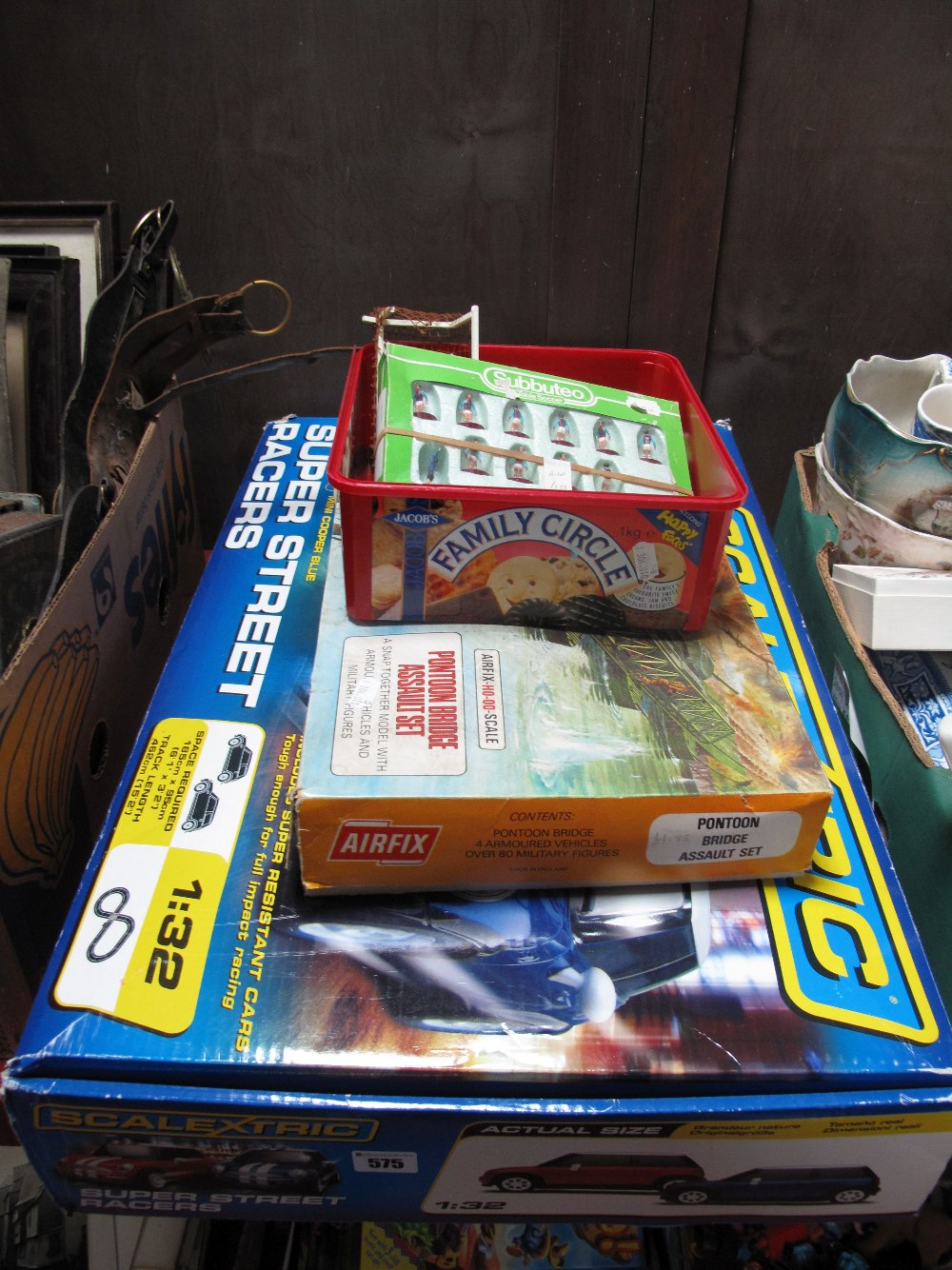 Lot 575 - A Scalextric Set, an Airfix 'OO' scale pontoon bridge set and some football Subbuteo, some boxed.