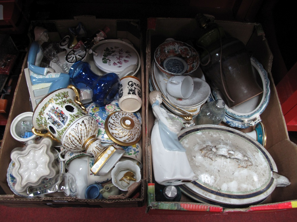 Lot 539 - Italian Table Lamp, Nadal & Rex figurines, other pottery:- Two Boxes