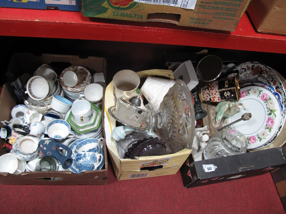Lot 557 - A Worcester Royal Garden Cake Plate, teaware, Art Deco lamp, (damaged), other pottery:- Three Boxes