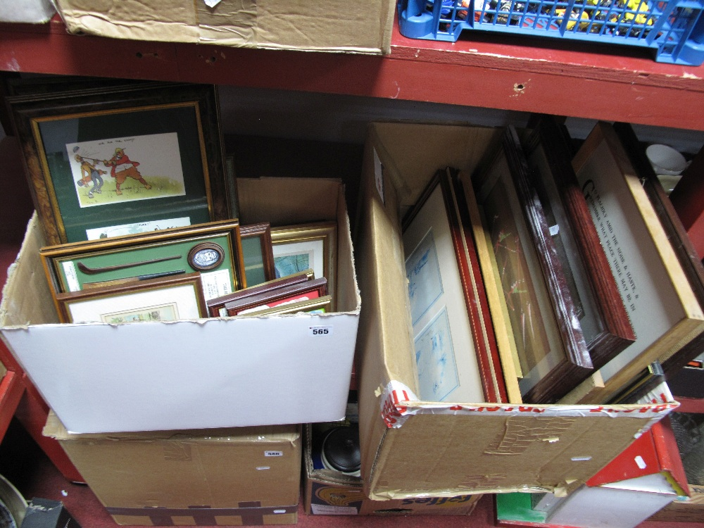 Lot 565 - Quantity of Prints, including satirical, golfing, Baldi and Padgin watercolours:- Two Boxes