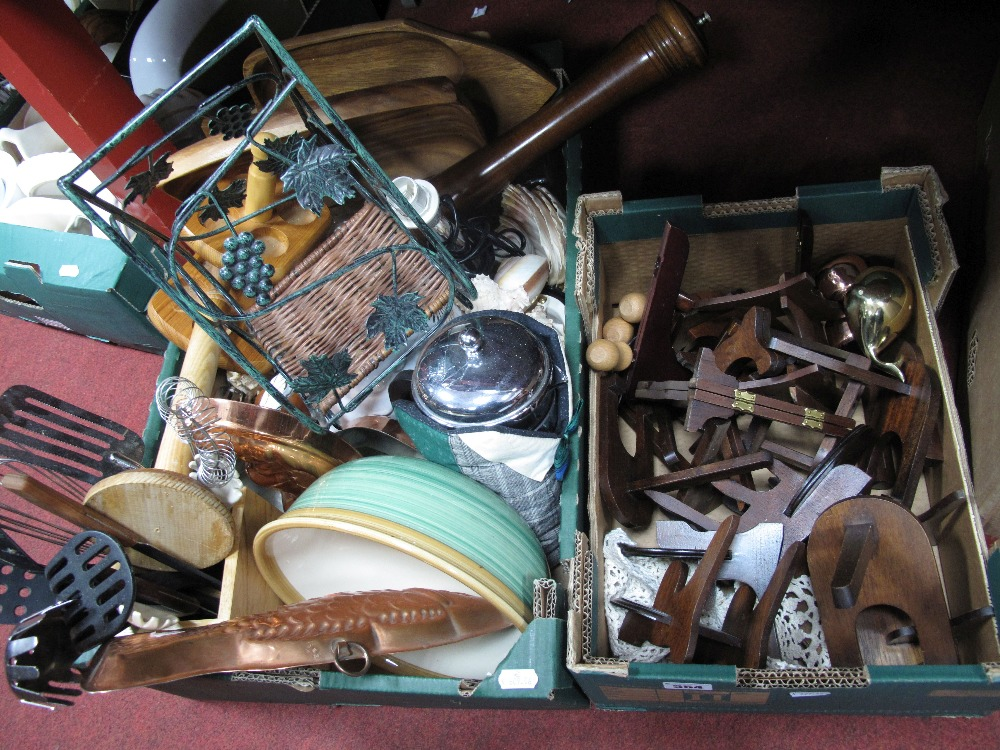 Lot 554 - Wine Racks, cup and plate stands, pepper grinder, sea shells, bowls, etc:- Two Boxes