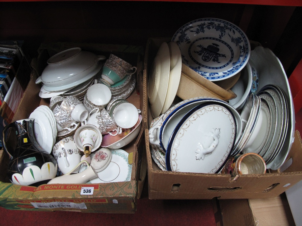 Lot 536 - Casserole, Tureen, Plates, etc:- Two Boxes