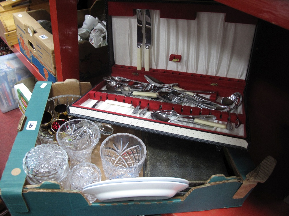 Lot 545 - Cased Cutlery, fish knives and forks, glass, fruit bowl, glass salad servers, vases, etc:- One Box