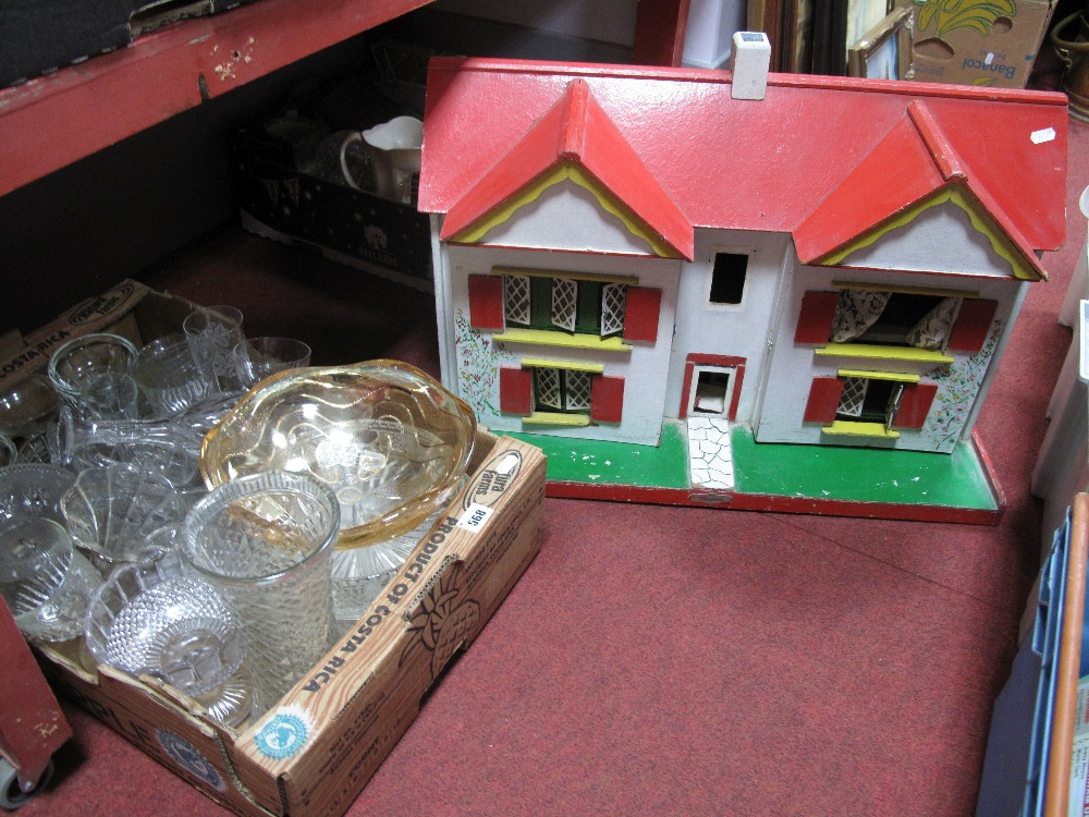 Lot 568 - Two Pottery Wall Clocks, Beswick butter dish, wine glasses, bowls, etc; together with a dolls