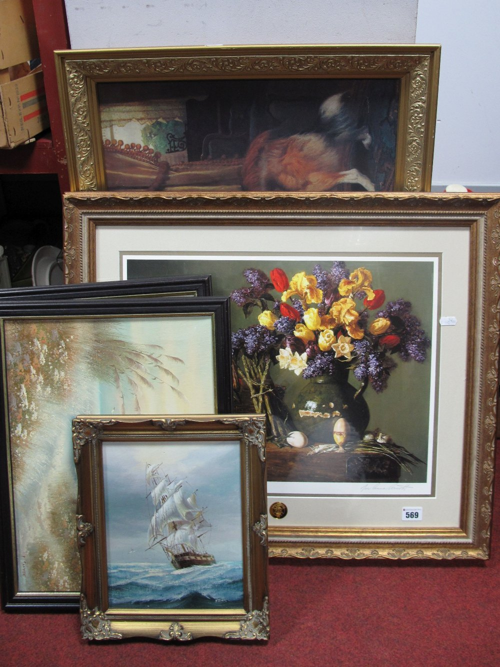 Lot 569 - J. David, Clipper Ship, oil on canvas, 24 x 19cm, signed lower left; two coastal scene oils; Joe