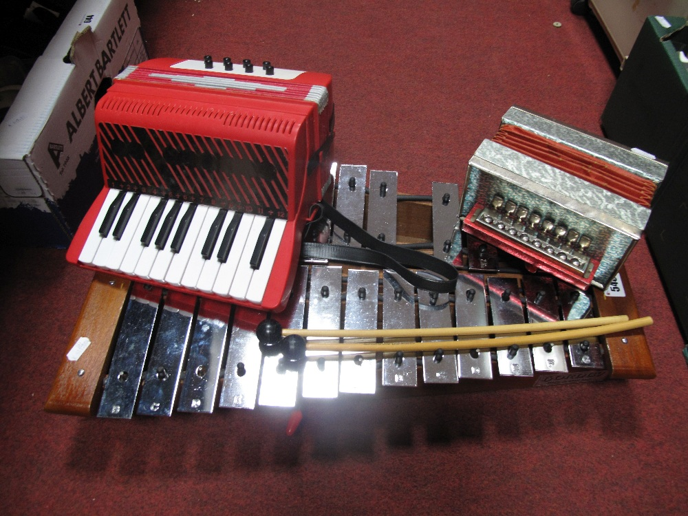 Lot 540 - A Hornby Xylophone, Bontempi and another accordion.