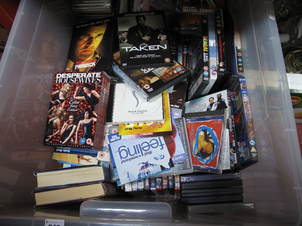 Lot 549 - A Quantity of DVD's, CD's and hardback books, many modern titles/artists noted:- One Box