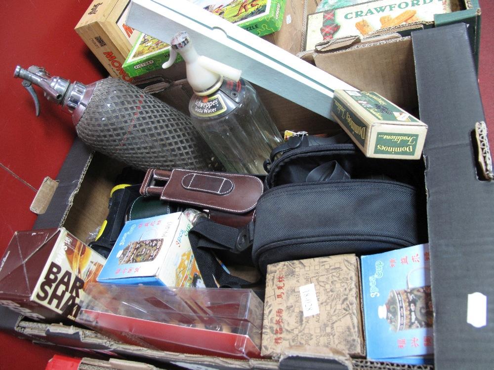 Lot 524 - Steiner Binoculars, torch, dominoes, cocktail shaker, soda syphons, etc:- One Box
