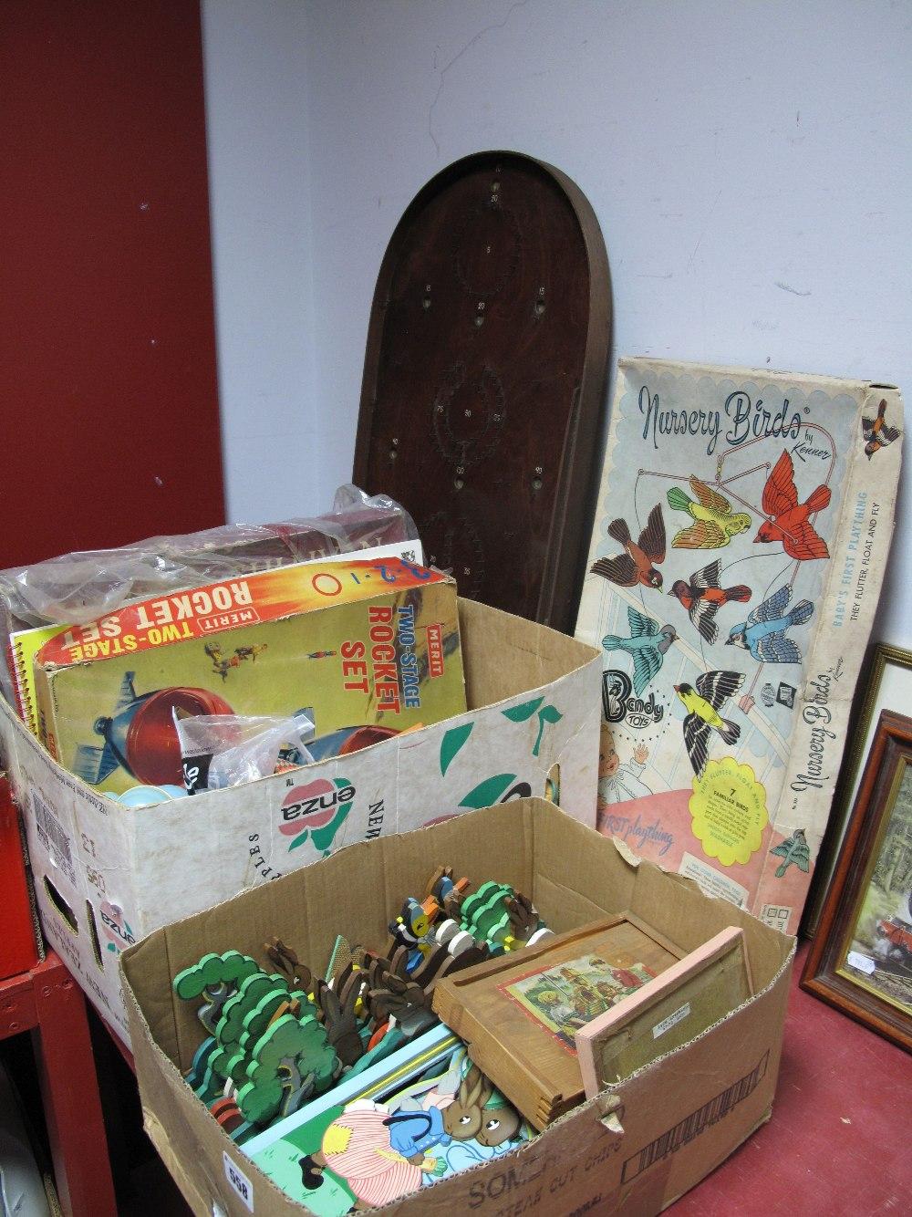 Lot 558 - A Merit 'Rocket Set', Bendy nursery birds, Corinthian bagatelle, puzzles, other toys.