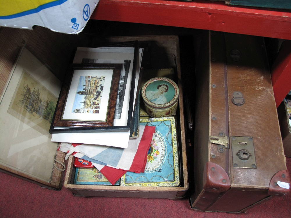 Lot 556 - A Suitcase Containing Early To Mid XX Century Tin Boxes, Union Jack, two prints, etc:- Two Suitcases