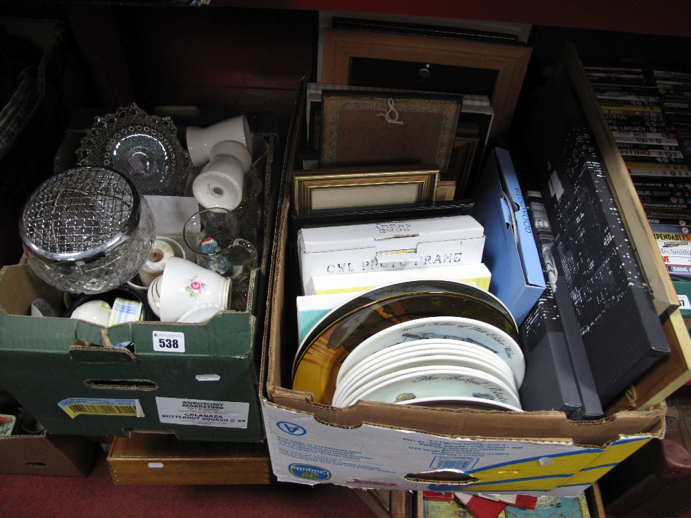 Lot 538 - A Quantity of Pictures, Doulton and Wedgwood plates, etc:- Two Boxes