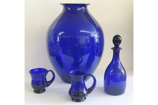 A Large Bristol Blue Glass Ovoid Vase Hand Blown With Pontil Mark