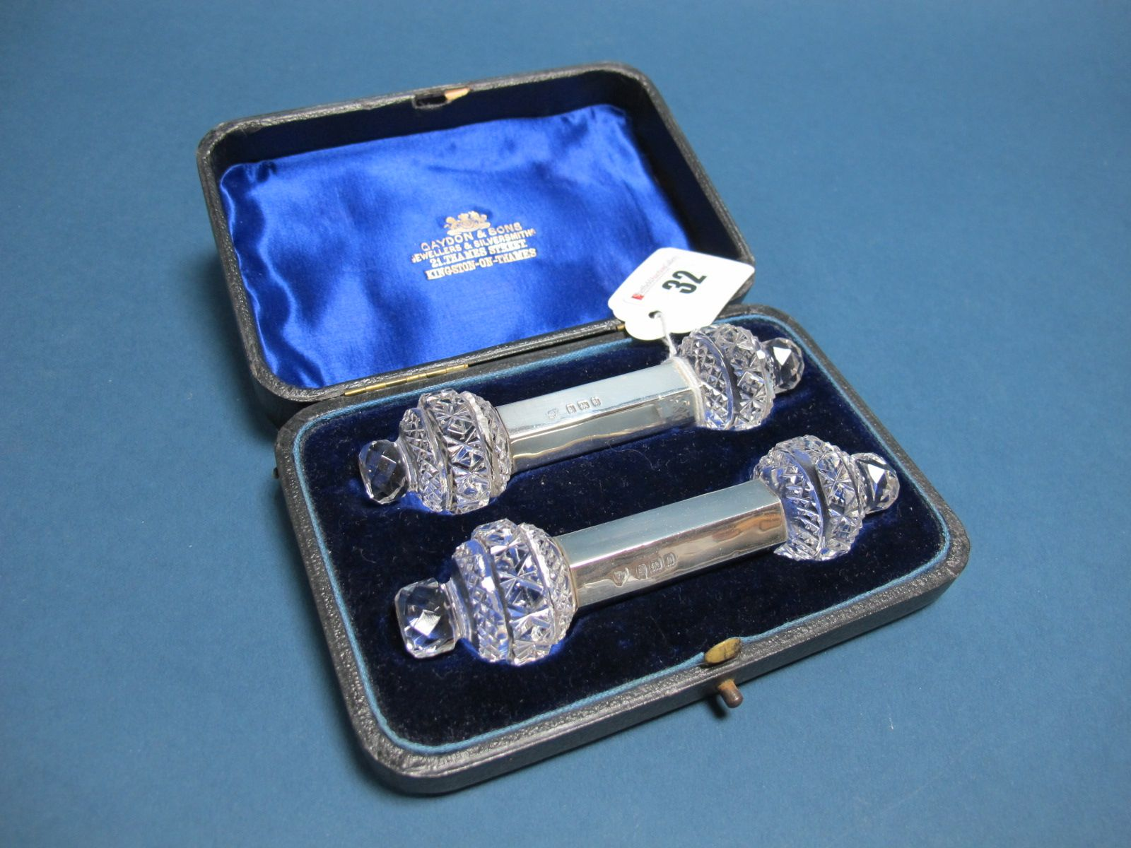 Lot 32 - A Pair of Hallmarked Silver Mounted Cut Glass Knife Rests, Edward & Noble Haseler (marks rubbed),