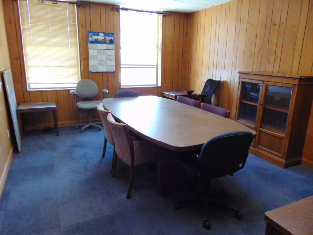 LOT CONSISTING OF: oval table, credenza, bookcase, (2) end tables & (8) chairs (located upstairs)