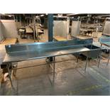 Stainless steel prep table w/ sink 12'