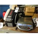 LOT: Ohaus E Series Bench Top Digital Scale & Marsh Model TD2100 Tape Machine