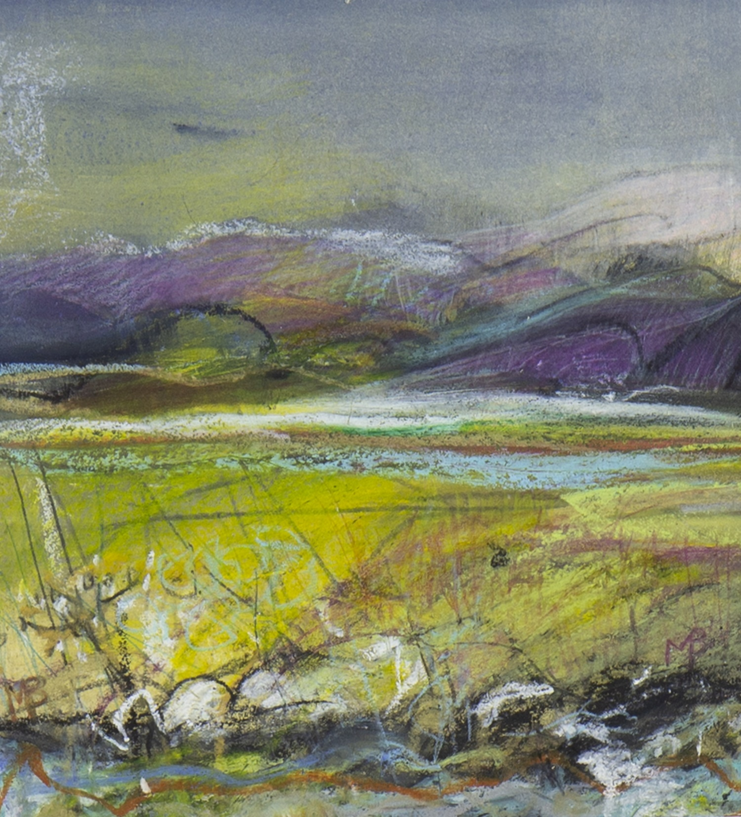 SUNLIT FIELDS, A MIXED MEDIA BY MAY BYRNE - Image 2 of 2