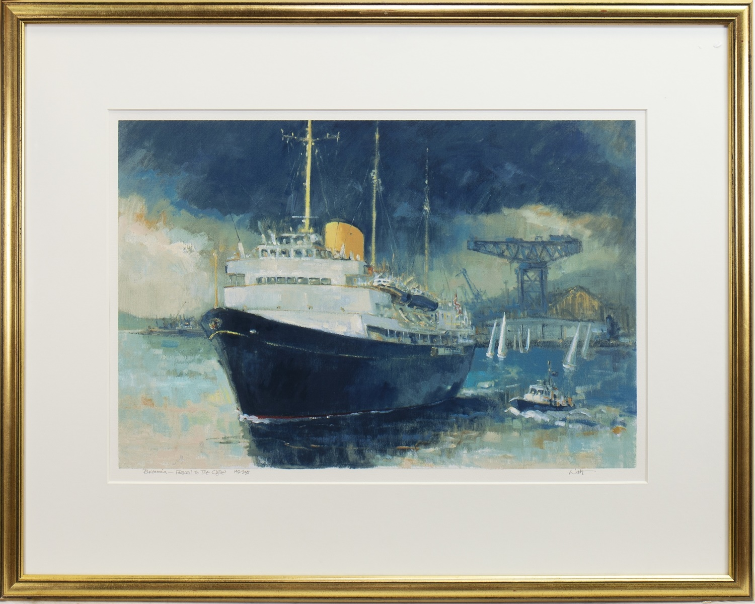 BRITANNIA, FAREWELL TO THE CLYDE, A SIGNED LIMITED EDITION PRINT BY JAMES WATT